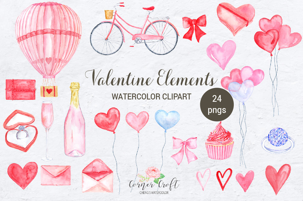 watercolour pink hot air balloon, pink bike, diamond ring, heart balloon, glass of champaign, hearts