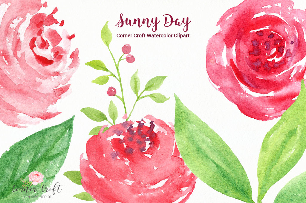 watercolor clipart by corner croft design.
