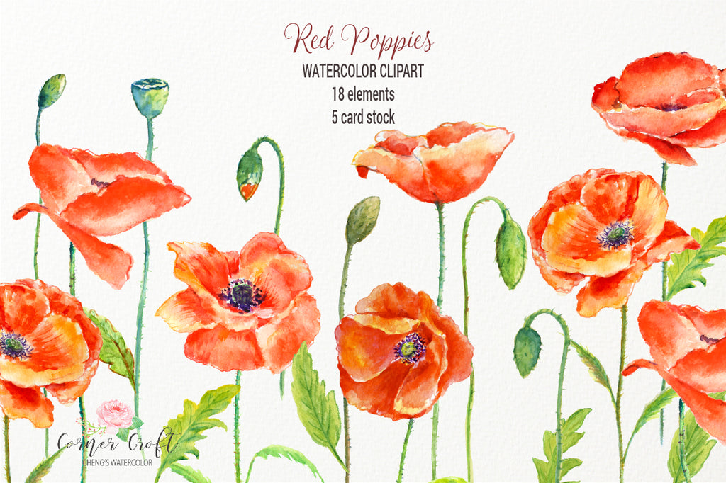 watercolor clipart, poppy, red poppy, red poppies, poppy field, card, greeting cards, template