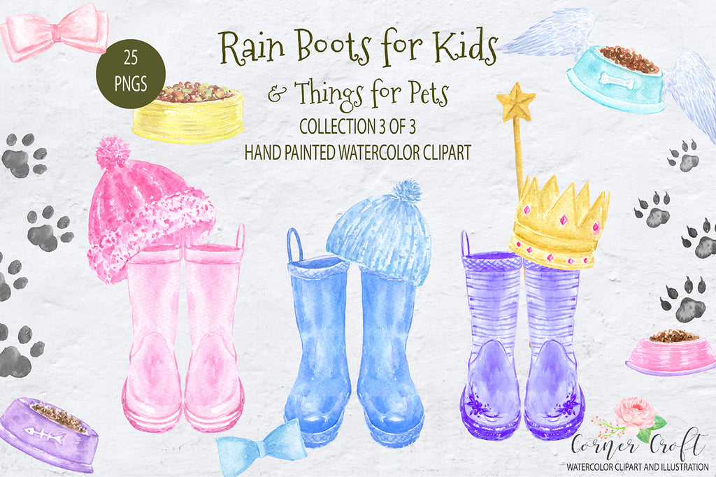 watercolor boots, wellington boots, children boots, rain boots, wellington boots, pink boots, nursery, digital print, instant download, corner croft art