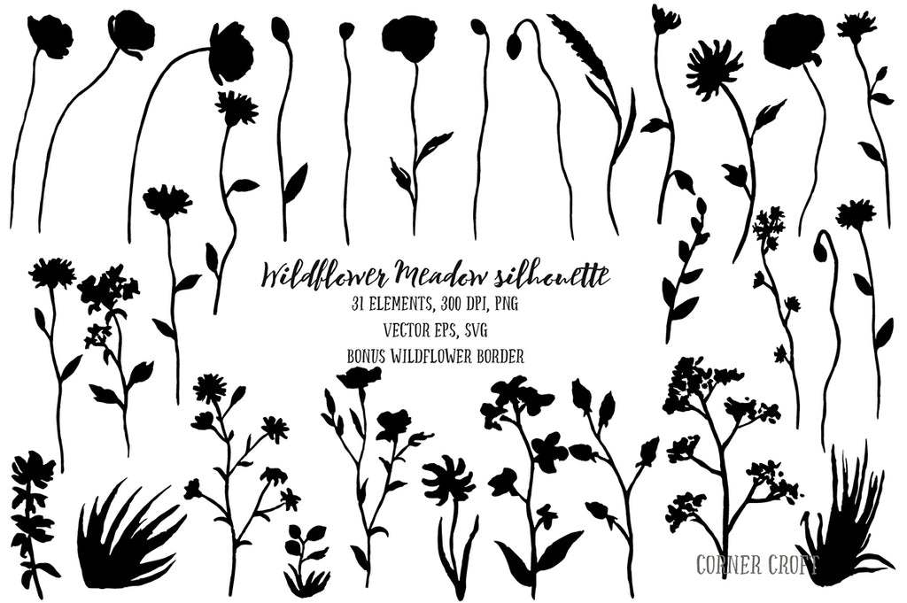 svg cut file, svg meadow flower, poppy svg cut file, wild flowers