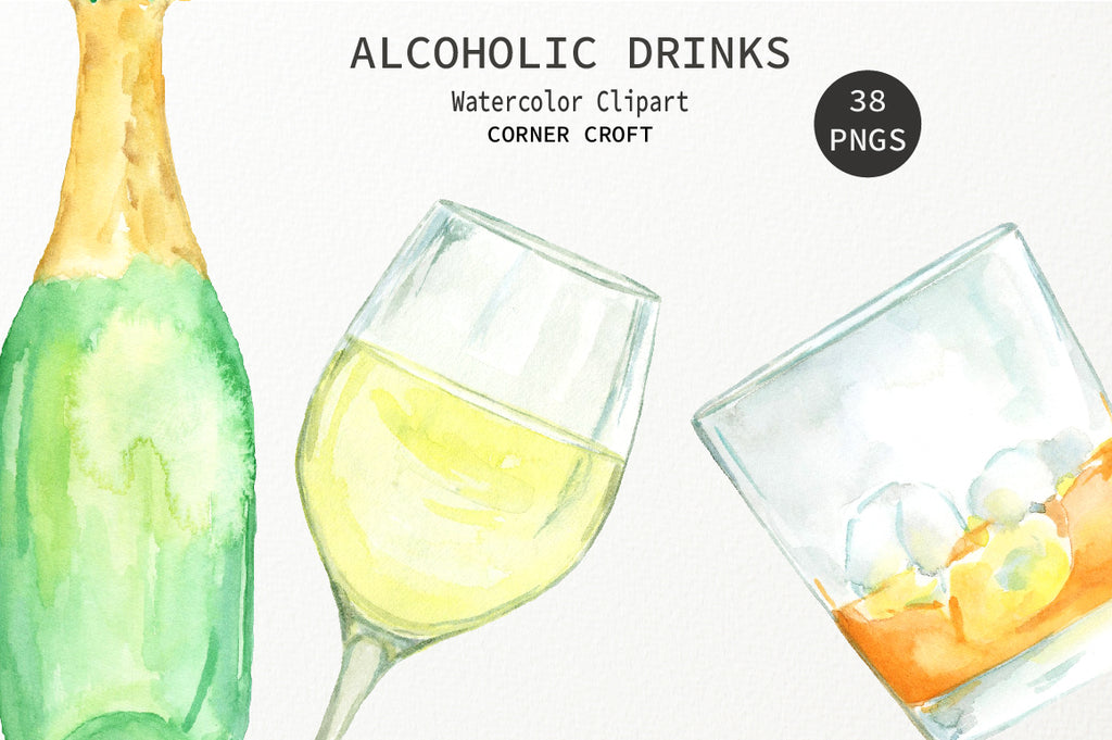 watercolor clipart alcohol drink, red wine, white wine and rose wine illustration, sticker and label