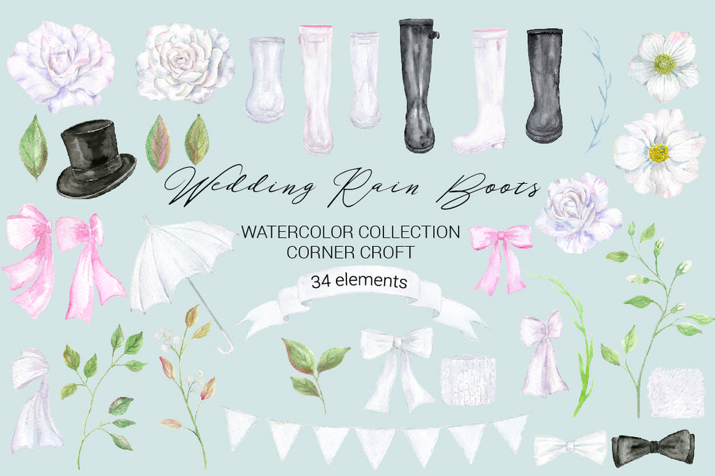watercolor wedding boots, wellies, white rain boots, black rain boots, wedding rain boots, top hat, white flower, print, instant download, white wellies, white wellington boots, black wellington boots