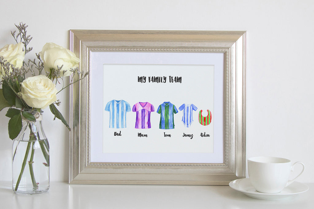 watercolour football shirt, football team, my family print, soccer team, digital download