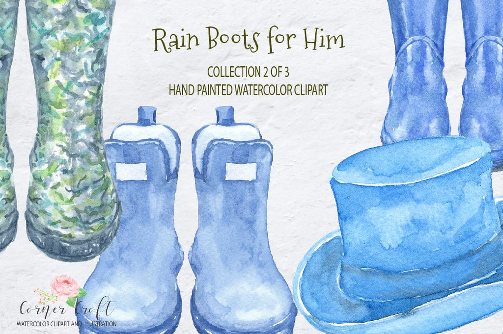 close up of watercolor rain boot clipart, blue rain boots, men's wellies