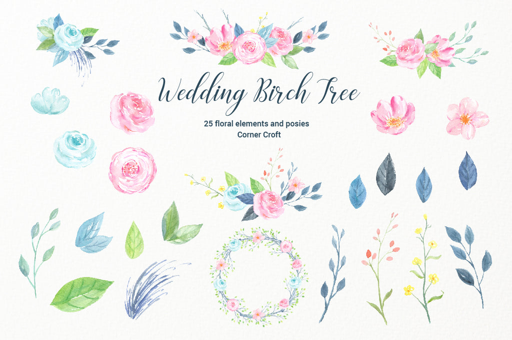 watercolor pink flowers, birch, wedding birch, birch branch, tree branch, wedding invitation