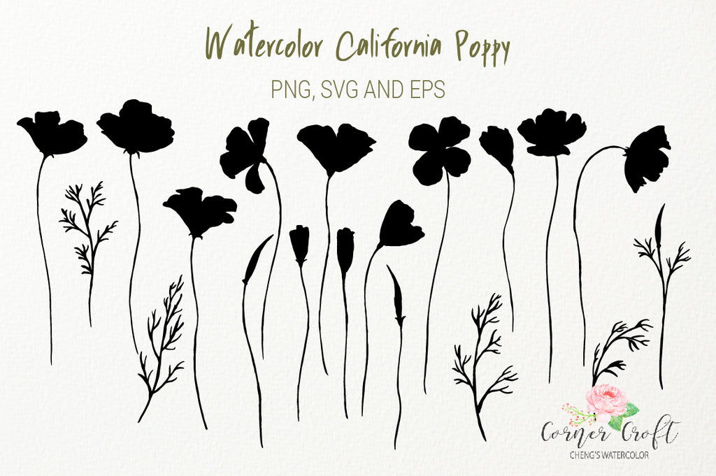 california poppy silhouette, black poppy, svg cut file,
