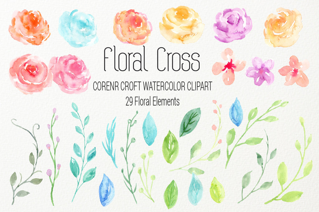 pastel color watercolor clipart, flowers illustration, cross clipart