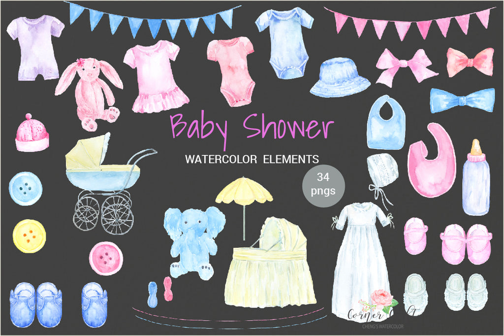 watercolor clipart baby shower, blue elephant soft toy, feeding bottle, bib, baby clipart, watercolour illustration