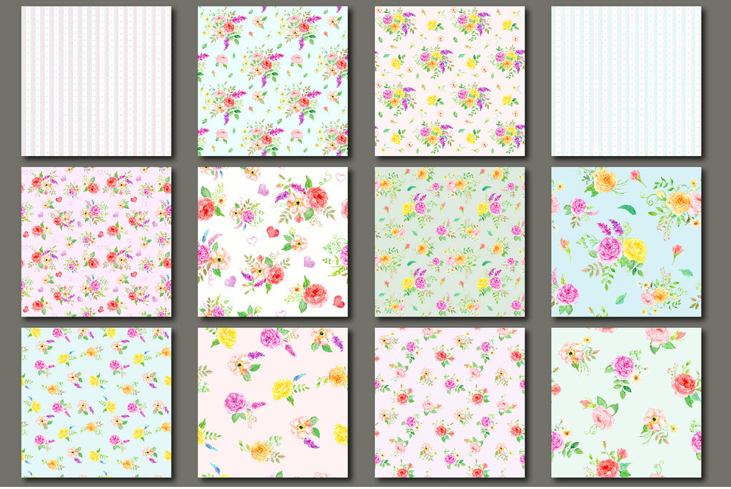watercolor bundle sensational, seamless pattern, rose pattern, instant download