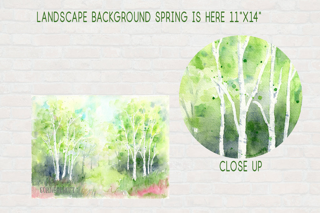 watercolor birch wood, spring wood, nature background, digital paper