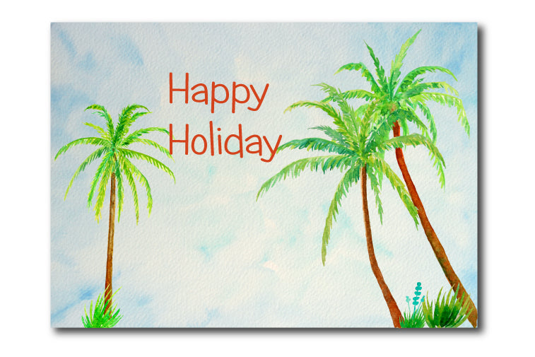 Watercolor Clipart Palm Trees, Sea Grass and Driftwood