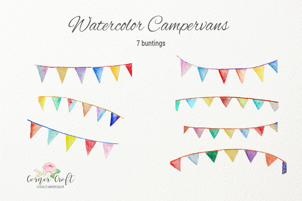 watercolor bunting, classic cmapervans, watercolor leisure vchicles, motorhome