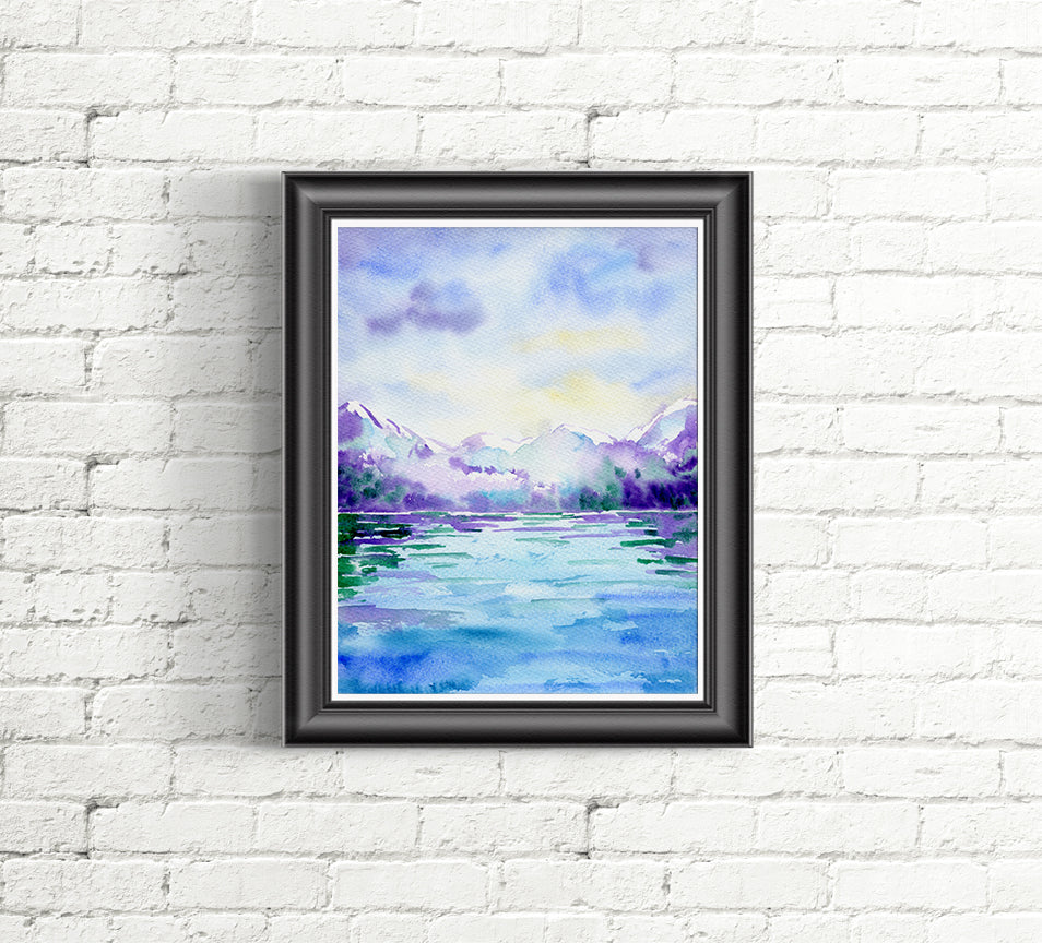 Watercolor painting of distant snow mountain over water, blue themed watercolor painting.