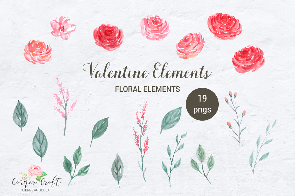 watercolor clipart pink and red flowers, floral posies