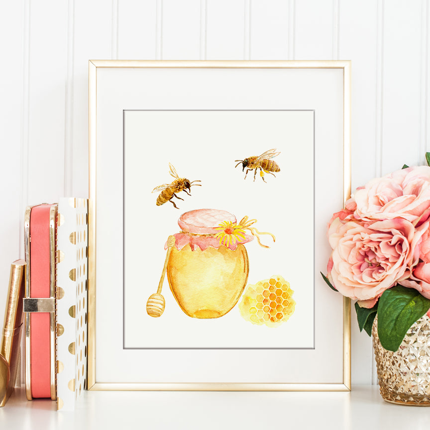 Watercolor honey bees and jar of honey printable