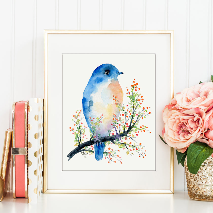 watercolor print of blue bird on red berry branch, Christmas gift