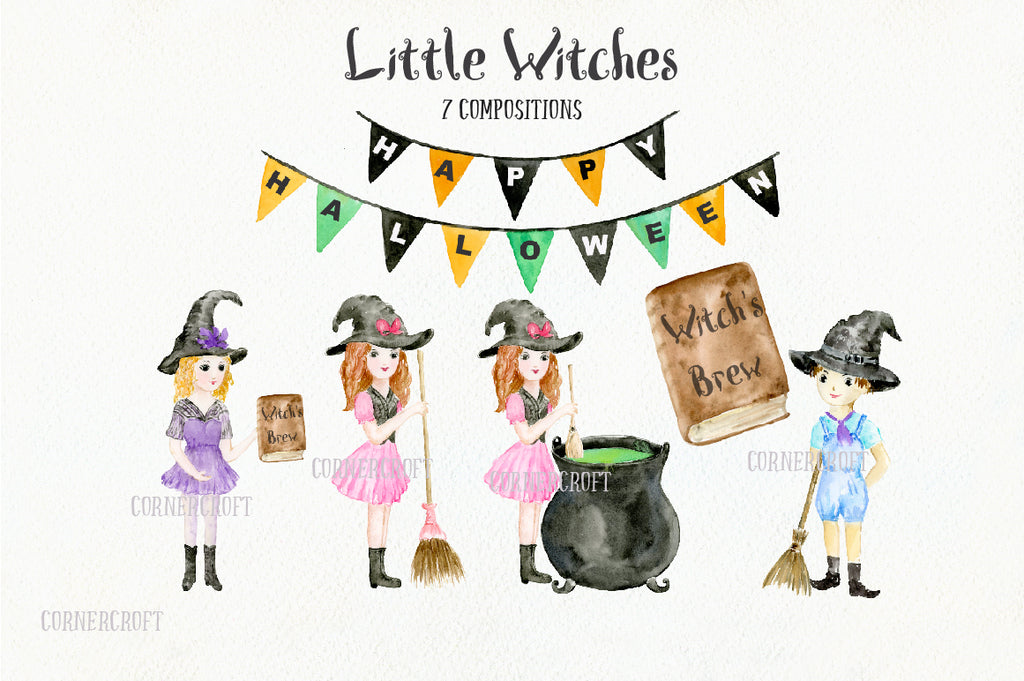 Watercolor design kit little witch, little boy and girl halloween illustration