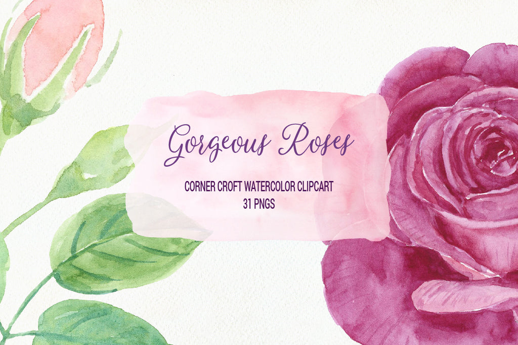 rose, flower, instant download, watercolor rose clipart, gorgeous roses