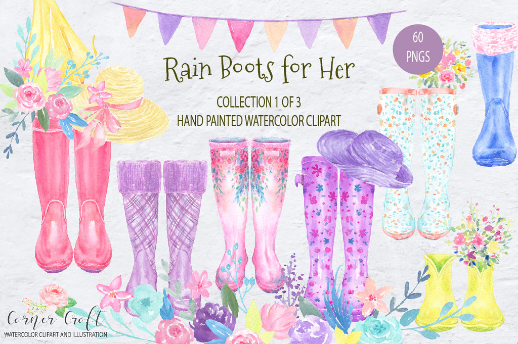 Waterolor Rain boots for Her, floral wellies, floral rain boots, rubber boots, floral wellington boots.