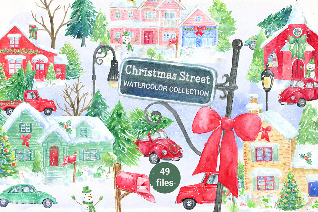 watercolor Christmas street collection, red house, church, car, christmas trees