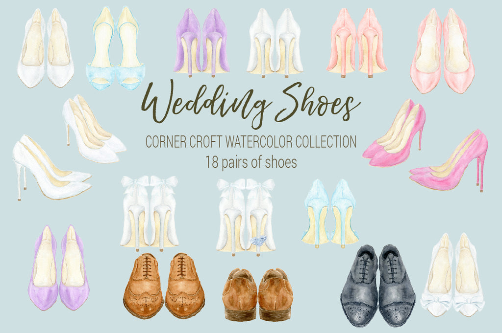 watercolour wedding shoes collection, black shoes for groom, brown shoes for groom, high heel shoes