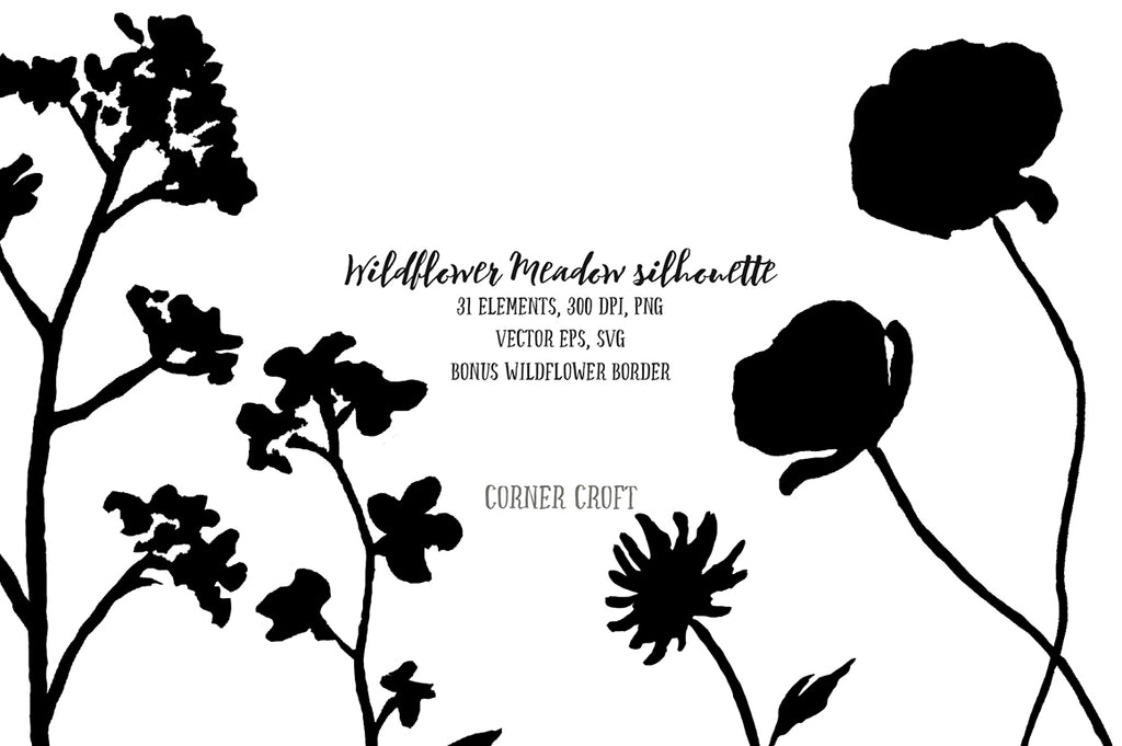 vector file instant download, silhouette flowers, meadow flower, hand drawn flowers