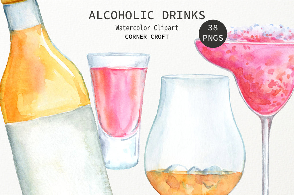 detailed painting of drink, watercolor vodka, gin, brandy, drink collection, drink illustration