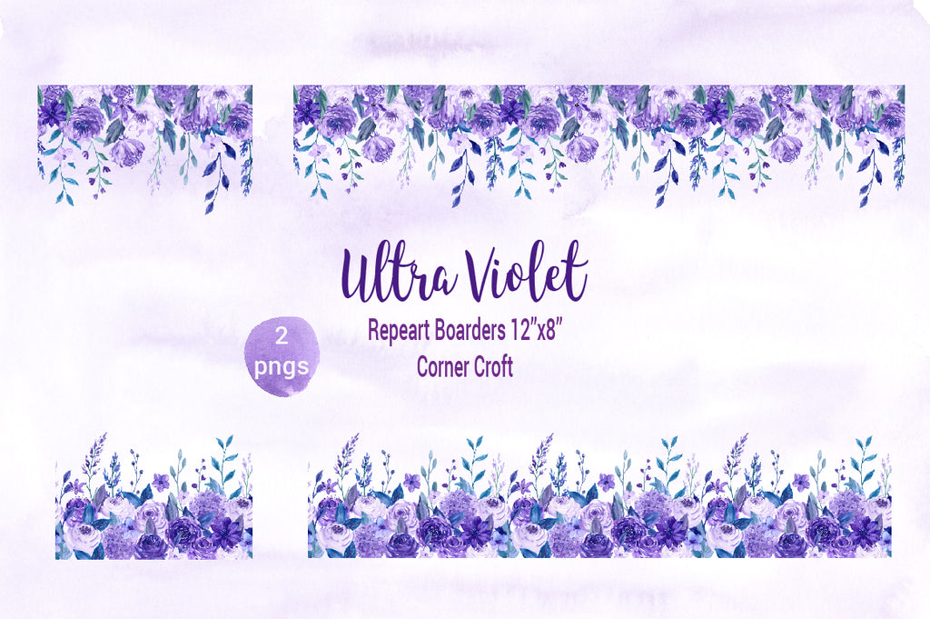 watercolor ultra violet, repeat border, watercolor border, corner croft illustration
