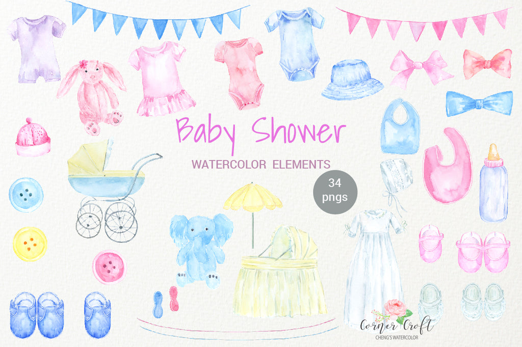 watercolor baby shower, baby cloth illustration, baby dress, baby hat, baby shoes, blue, white, pink and yellow