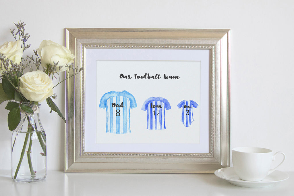 my family prints, football print, football team, watercolor illustration, watercolour football team