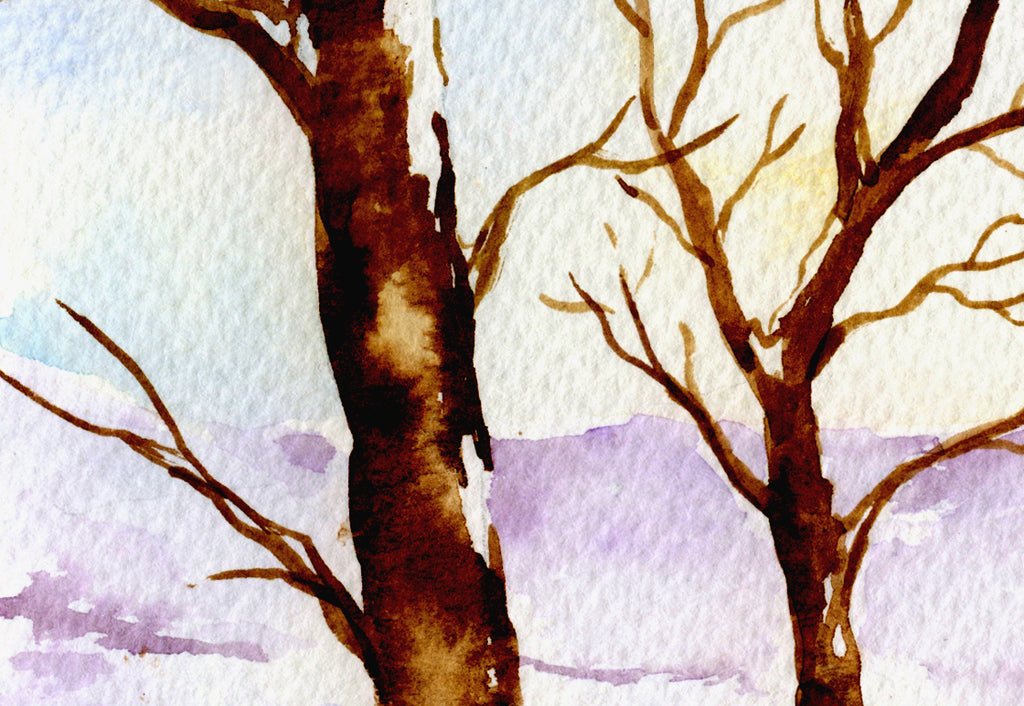 watercolor painting of bare oak tree in snow, snow mountain and oak trees.