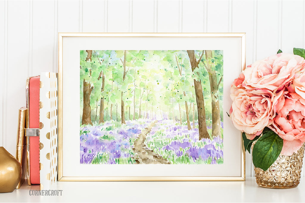 watercolor bluebell wood, instant download