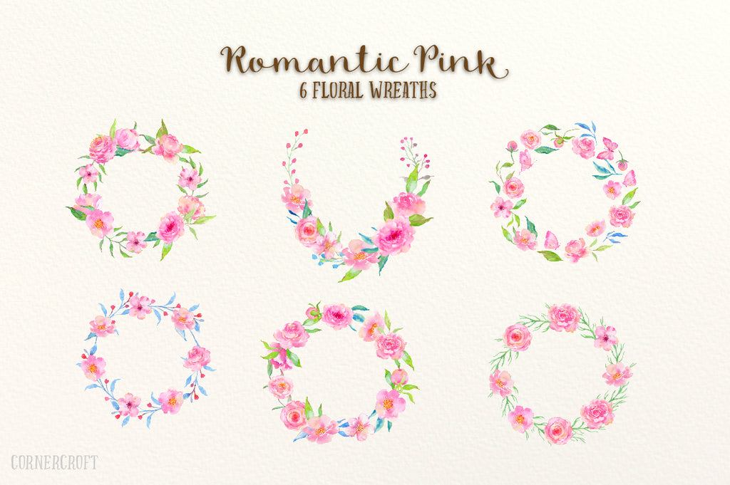 Watercolor pink wreaths, watercolor design kit romantic pink, wedding design kit, watercolor illustration
