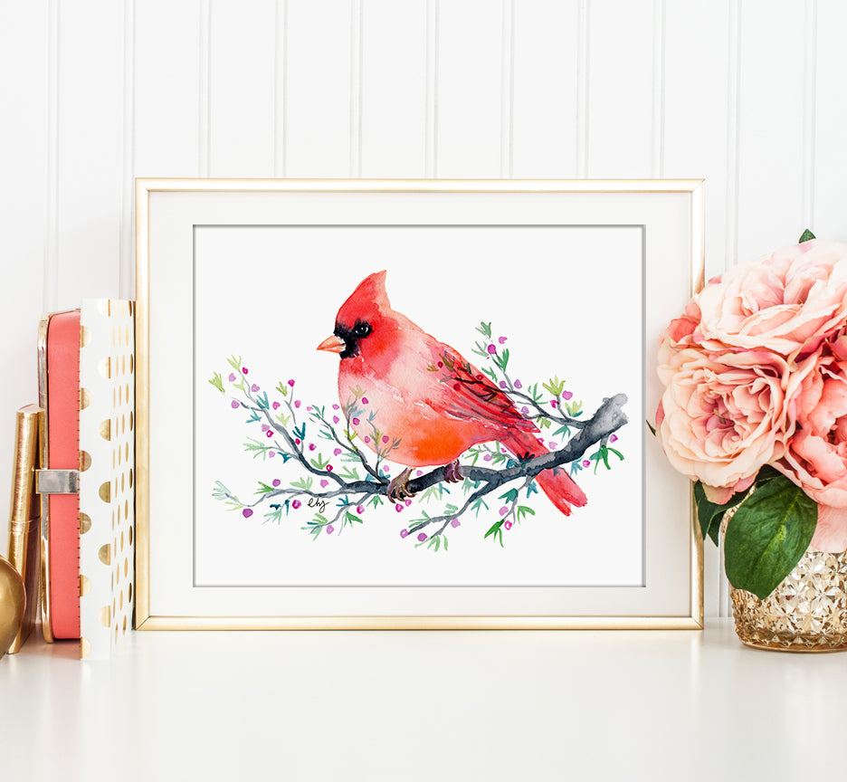 Red cardinal, watercolor cardinal, watercolor bird illustration, instant download