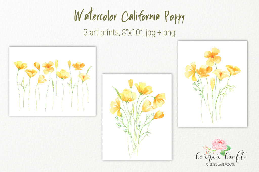 California poppy print, watercolor yellow flower printable