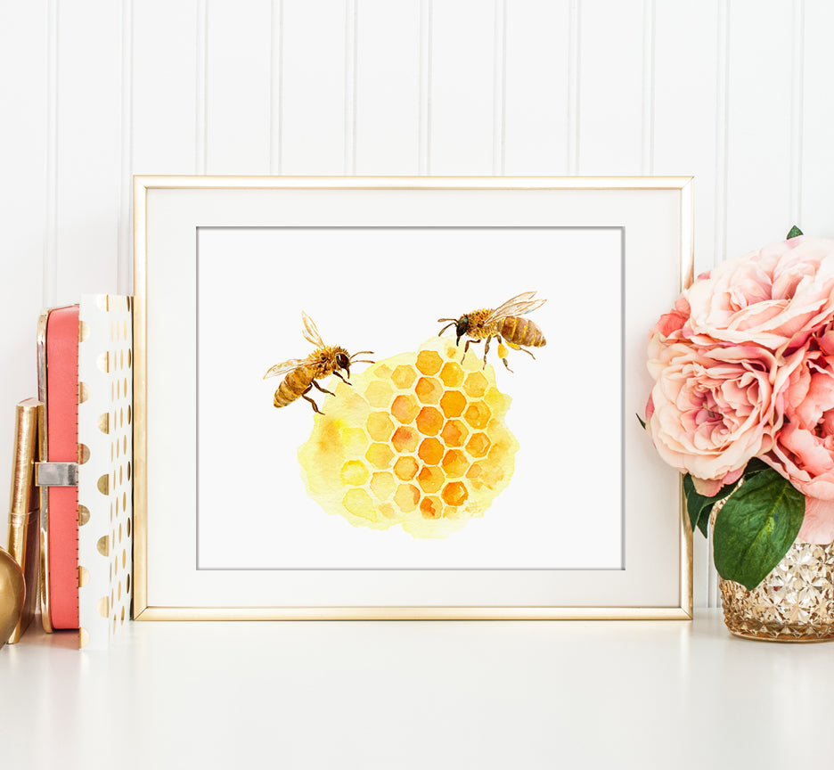 Watercolor bee keeping, honey bees and honeycomb print