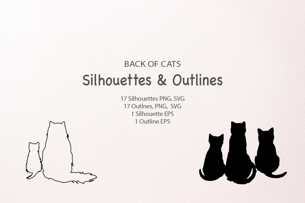 Back of cat, silhouettes, outlines, svg vector format