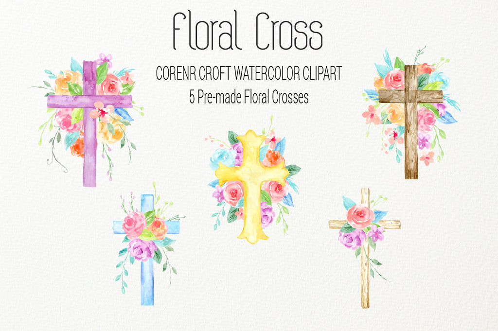 watercolor floral cross, cross decorated with pink, blue and purple flowers, digital files