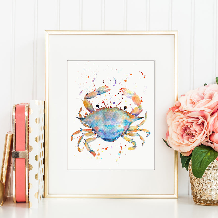 watercolor blue crab illustration, animal print, sea creature print