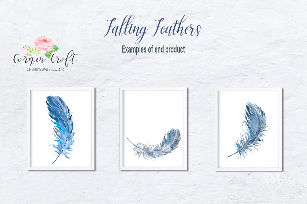 watercolor feather print, feather clipart, watercolor clipart, corner croft artwork