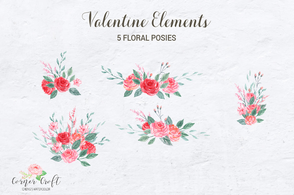 watercolour floral posies, valentine flowers, corner croft clipart