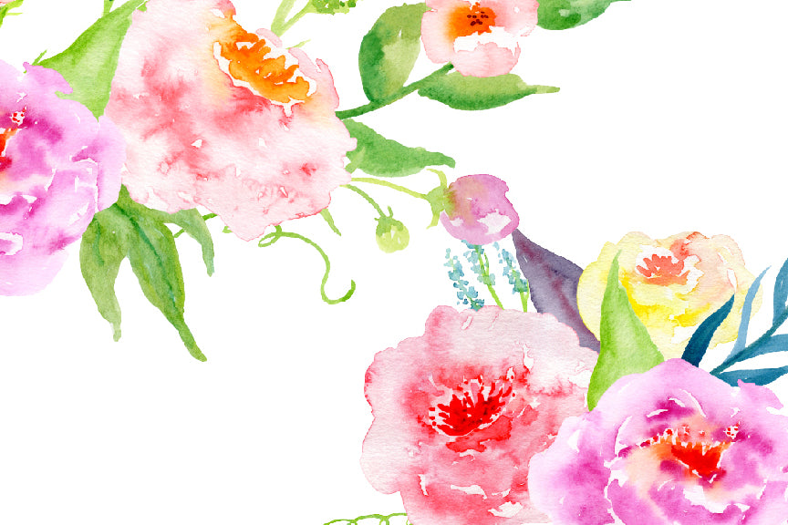 watercolor bundle Glory, soft pink and soft purple peony, yellow flower, instant download