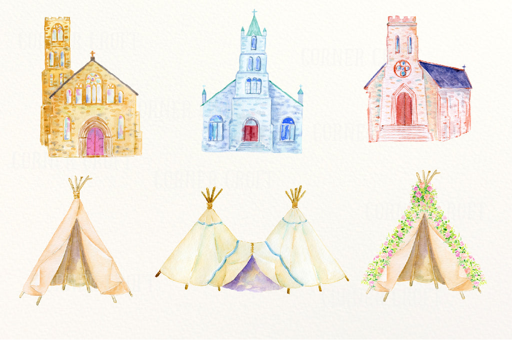 watercolor wedding church, wedding fever, wedding clip art