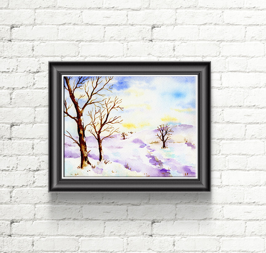 watercolor oak tree and snow hill, instant download