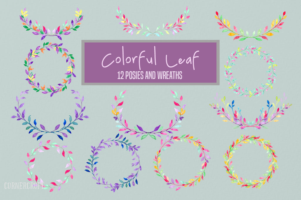 watercolor colorful leaf design kit, vector format, watercolor clipart