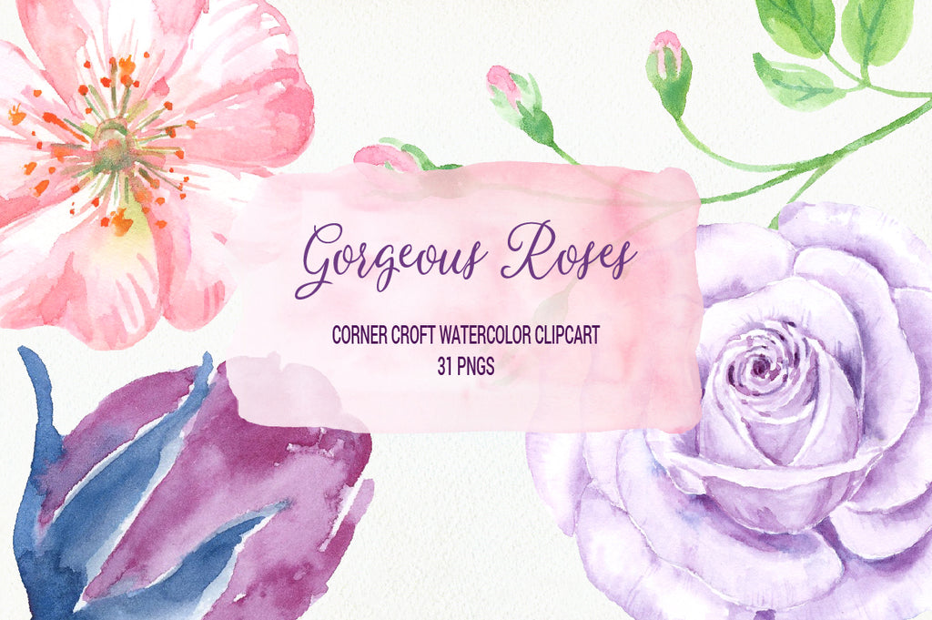 watercolor rose clipart, detailed rose, rose illustration, botanical rose, instand download