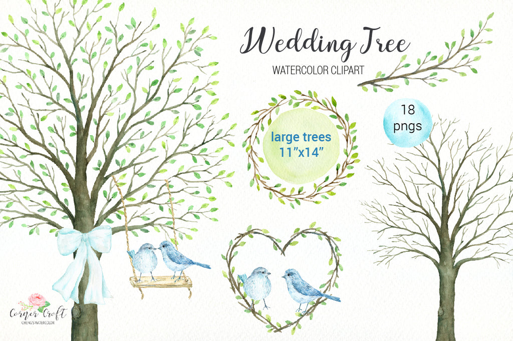 watercolor clipart, wedding tree, guest signing tree, large tree, bare tree, wedding invitation, swing, bird, heart, ribbon