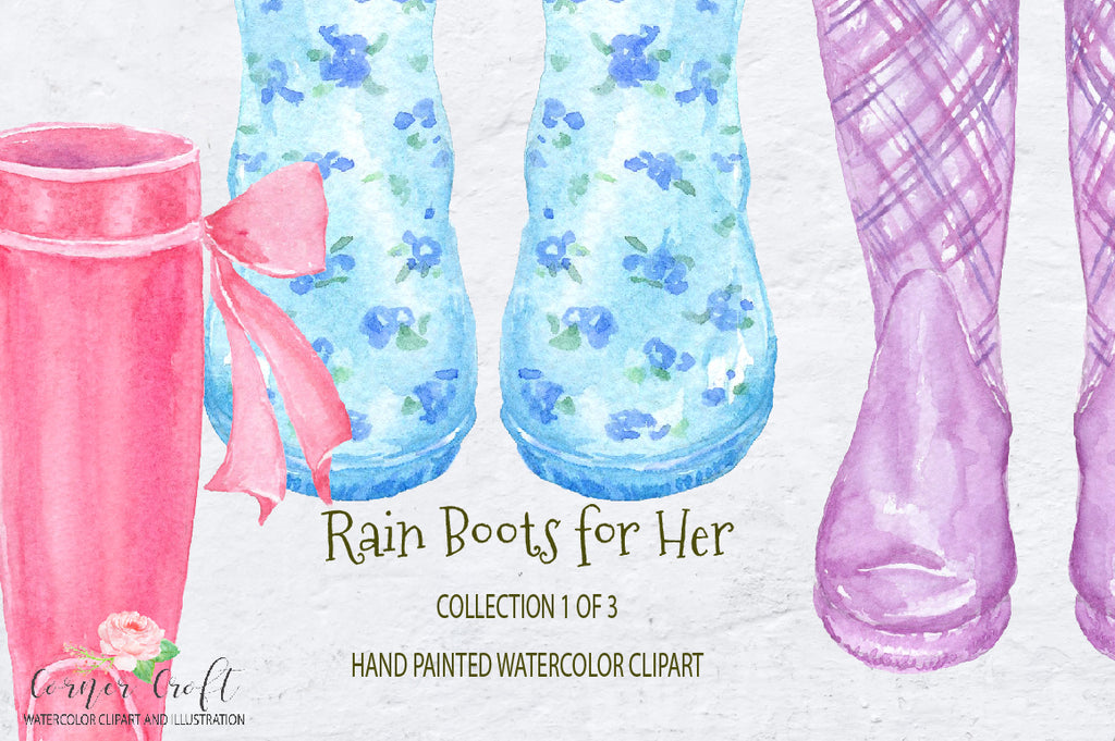 watercolor collection wellies, female boots, female wellies, garden boots, rubber boots.