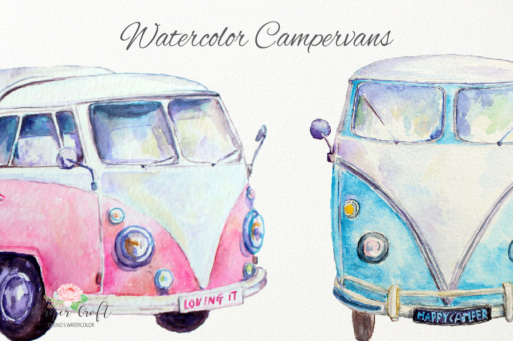 motor home, classic camper van, watercolor camper, leisure vehicles,